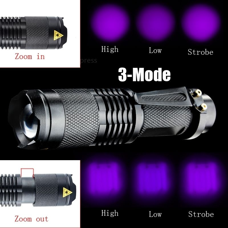 2017 Zoomable Led UV Flashlight Torch Light 395nm Ultra Violet Light UV Lamp AA Battery For Marker Checker Cash Detection
