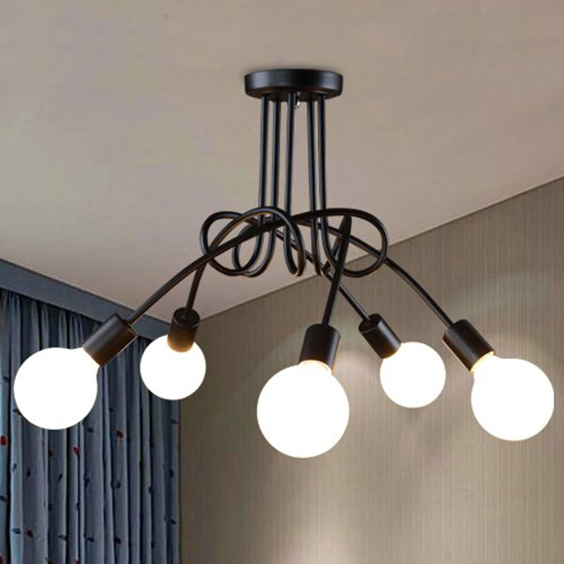 Modern Living Room Bedroom Kitchen Led Ceiling Lamp Black Red White Spiral Iron Light Fixtures Decor Home Lighting E27 110-220V modern 20w led lamp bedroom living room stair kitchen ceiling light fixtures black white iron acrylic indoor home lighting 220v