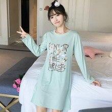 3cba0cf46 2018 Primavera Outono Malha Camisolas De Algodão para As Mulheres Manga  Longa Noite vestido de Meninas Bonito Vestido Casa Sleep.