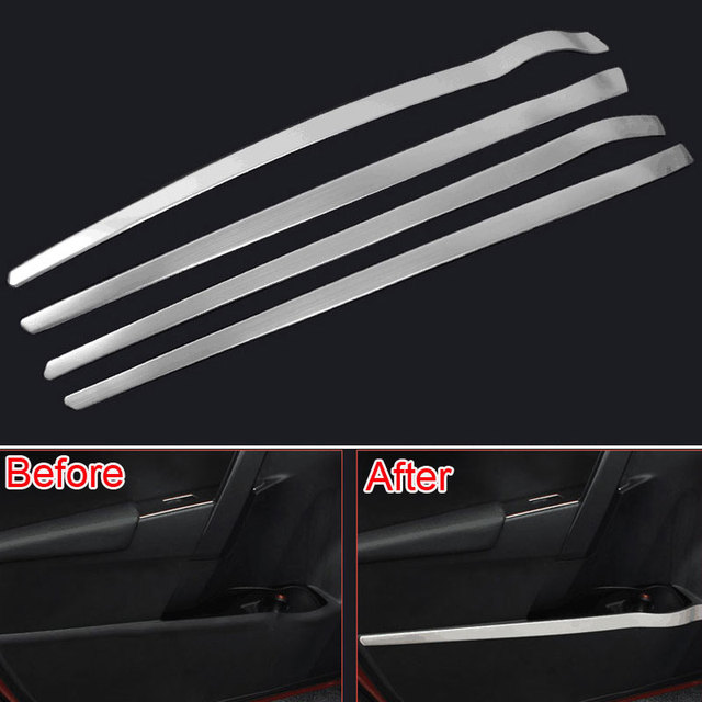 For Toyota Corolla 2014 2015 Stainless Steel Car Inner Door Side Storage Box Bumper Cover Moulding Trim Strip Decoration Styling