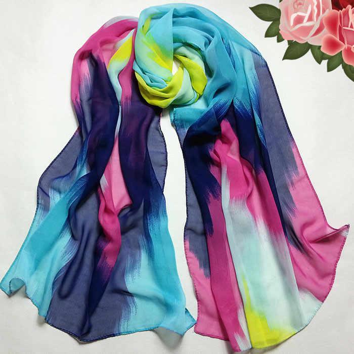 Lenço roubou lenço de cabeça casaco feminino cachecóis para mulher moda chinês estilo tinta envoltório senhora xale chiffon # yl5
