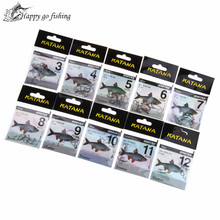 FISH KING  KATANA Cottus 50pcs/lot Size3-Size12 Carbon Steel Fishing Hook With Hole Feeder Anzol Fishhook Fishing Tackle