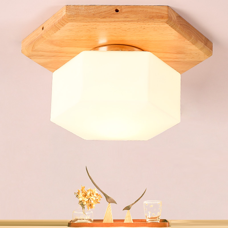 Northern Europe Countryside Modern Simple Solid Wood Diamond LED Ceiling Lamp Living Room Bedroom Aisle Lamp Free Shipping bedroom bedside wood led aisle corridor light northern europe simple living room wooden acrylic round wall lamp free shipping