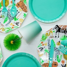 Jungle Animal Birthday Party Disposable Paper Plates Forest Friends Safari Zoo Theme Decorations Baby Shower Supp