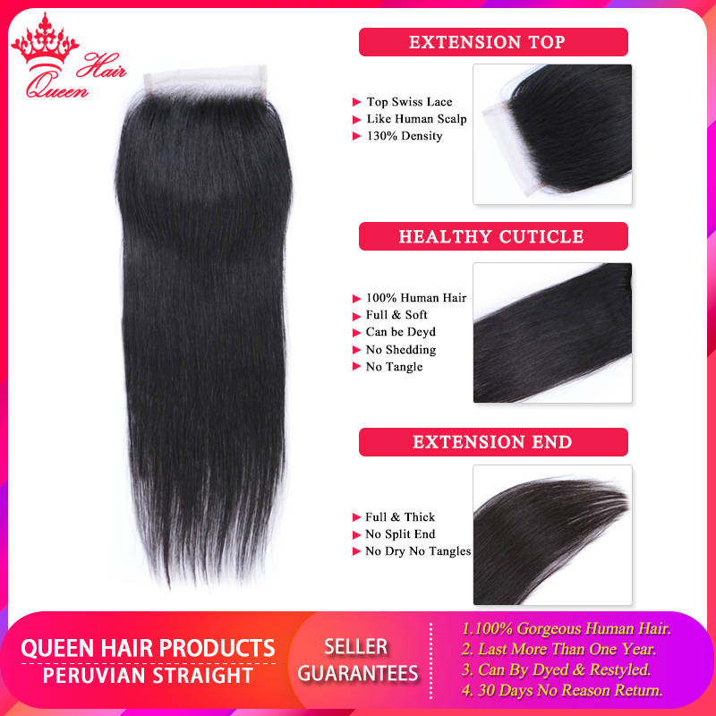 Queen Hair Products Peruvian Straight Hair lace closures human hair 4x4 Free Part Top Closure 100