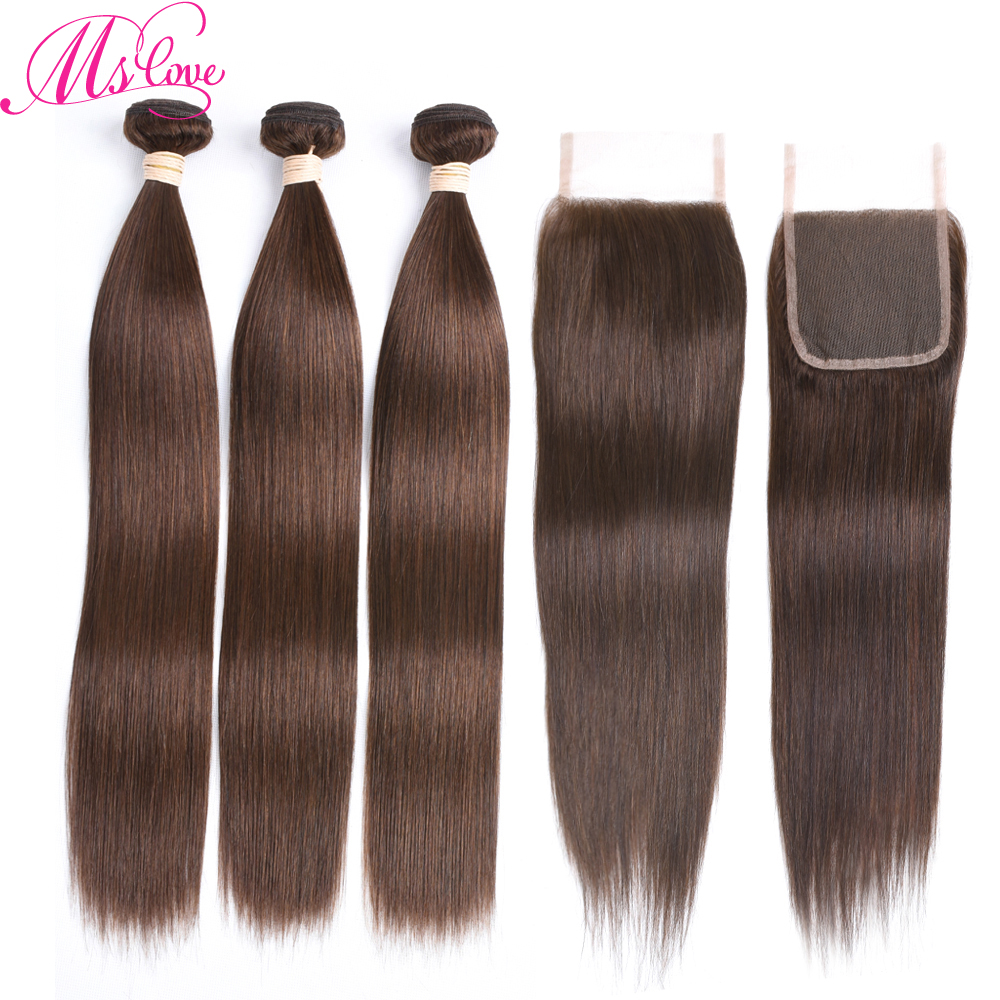 Ms Love Straight Human Hair Bundles With Closure Brazilian Brown Bundles With Closure Non Remy #2 #4 #1 Natural Color
