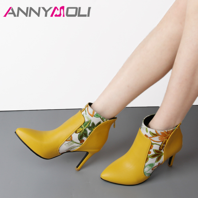 ANNYMOLI Shoes Ankle Boots LadiesBoots High Heel Flower Pointed Toe Stiletto Short Boots Zip Female Footwear Black Yellow  45 46