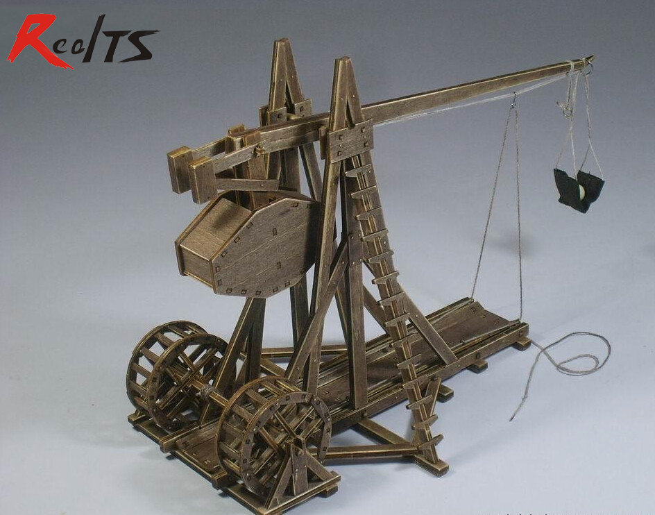 ФОТО RealTS Free shipping Classic wooden ancient chariots assembled of material The Trebuchet / mangonel Model 1 pcs / set