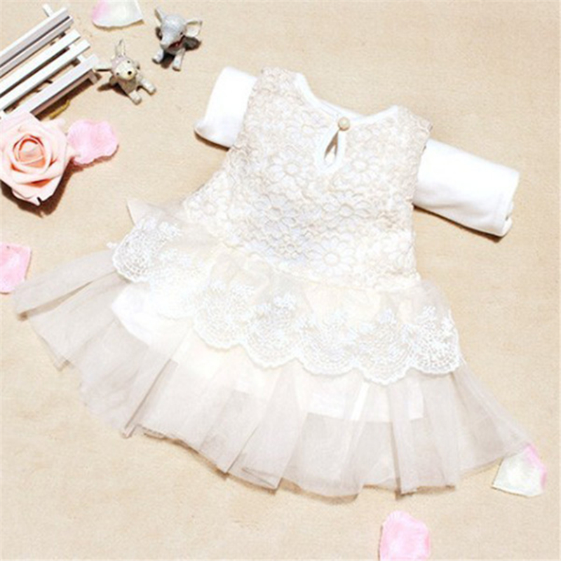 Cute Girls Summer Dress Princess White Baby Lace Cute Dress 3 Colors 0-2Y 1pcs Size XS-L