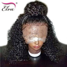 Elva Hair Curly Lace Front Human Hair Wigs For Black Women Pre Plucked Brazilian Remy Hair Wigs With Baby Hair Bleached Knots