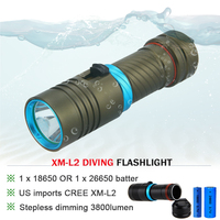 CREE XM L L2 5000lumens 18650 OR 26650 Rechargeable Batteries Scuba Diver Flashlight LED Torch Underwater