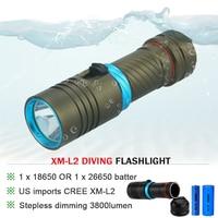 CREE XM L L2 5000lumens 18650 OR 26650 Rechargeable Batteries Scuba Diver Flashlight LED Torch Underwater
