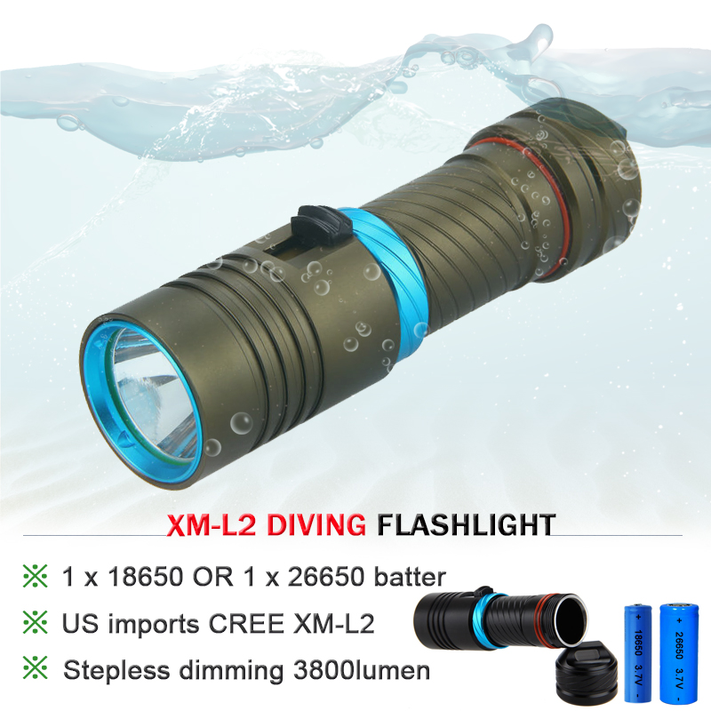 CREE XM L l2 5000lumens 18650 OR 26650 rechargeable batteries scuba diver Flashlight LED Torch Underwater Diving Light Lamp 100m diver flashlight led cree xm l2 torch constant current 18650 or 26650 rechargeable batteries underwater diving light lamp