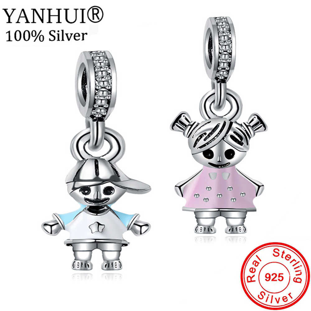 YANHUI HOT SALE Original 925 Solid Silver Charms Boy and Girl Pendant Charm Fit Original DIY Charm Bracelet Fine Jewelry CH1305
