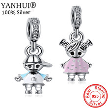YANHUI HOT SALE Original 925 Solid Silver Charms Boy and Girl Pendant Charm Fit Original DIY Charm Bracelet Fine Jewelry CH1305(China)