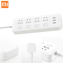 Xiaomi Mi Original Power Strip Socket Plug 4 Ports 4 Sub-control Switch 3 USB Jack Quick Charge 2.0 Outlet Extension Safety Door original genuine xiaomi mikey quick shortcut button 3 5mm earphone plug blue