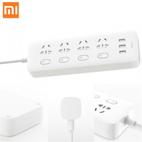 Xiaomi Mi Original Power Strip Socket Plug 4 Ports 4 Sub control Switch 3 USB Jack Quick Charge 2.0 Outlet Extension Safety Door