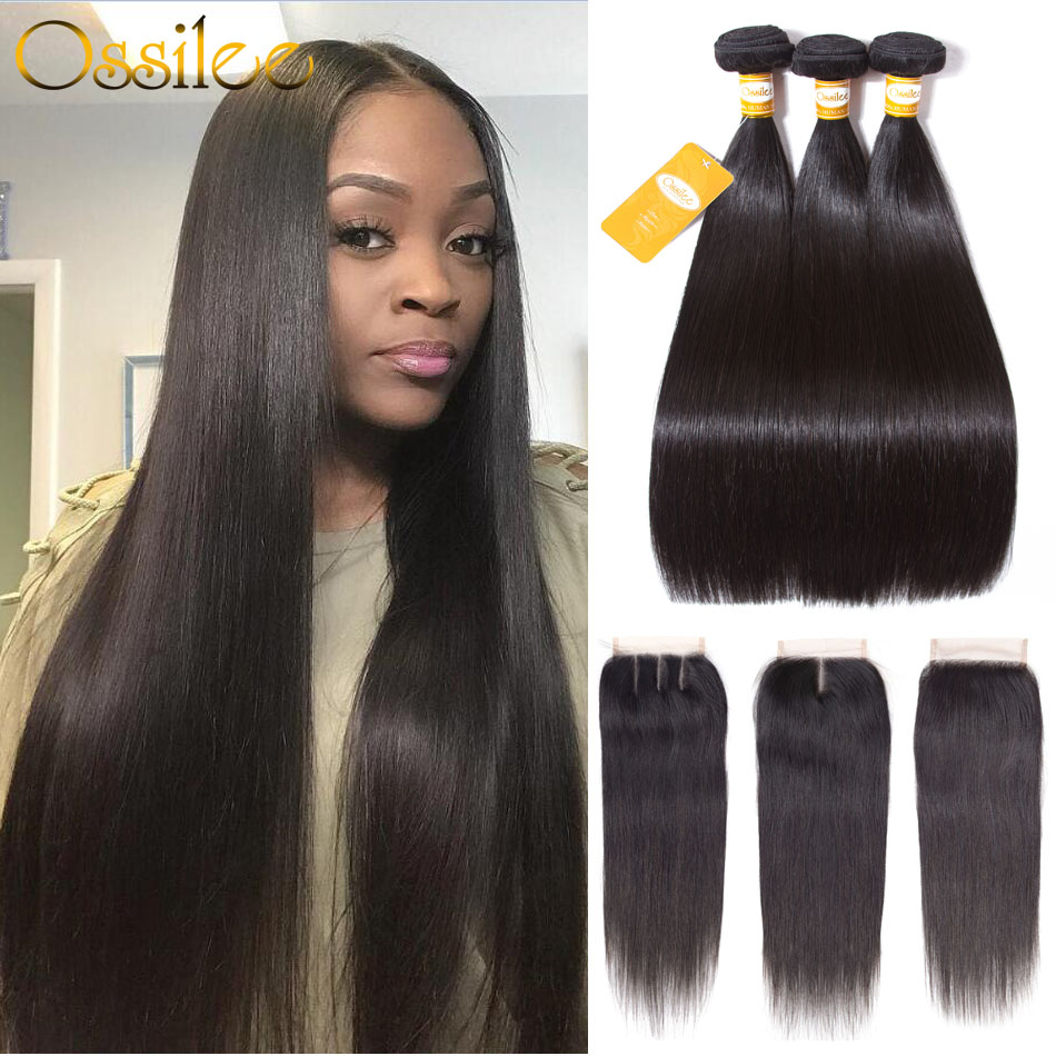 Hair Extensions & Wigs Bright Ossilee 360 Lace Frontal Pre Plucked Straight Hair Lace Frontal 360 Brazilian Human Hair With Baby Hair Lace Closure Remy Hair Up-To-Date Styling
