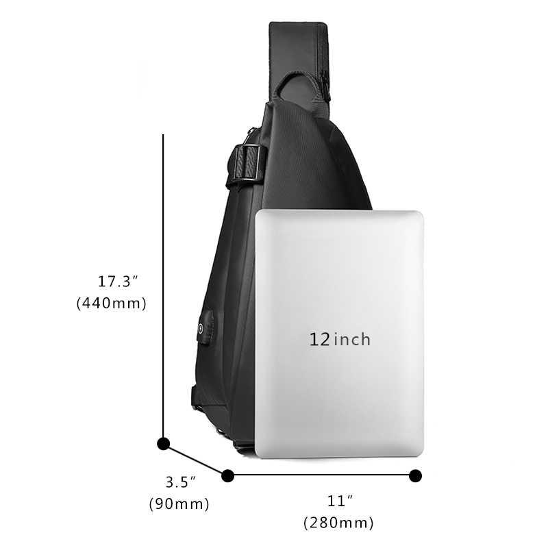 Eurcool masculino peito saco para 12 polegada ipad multifuncional crossbody sacos de carregamento usb viagem bolsa de ombro repelente água n1850