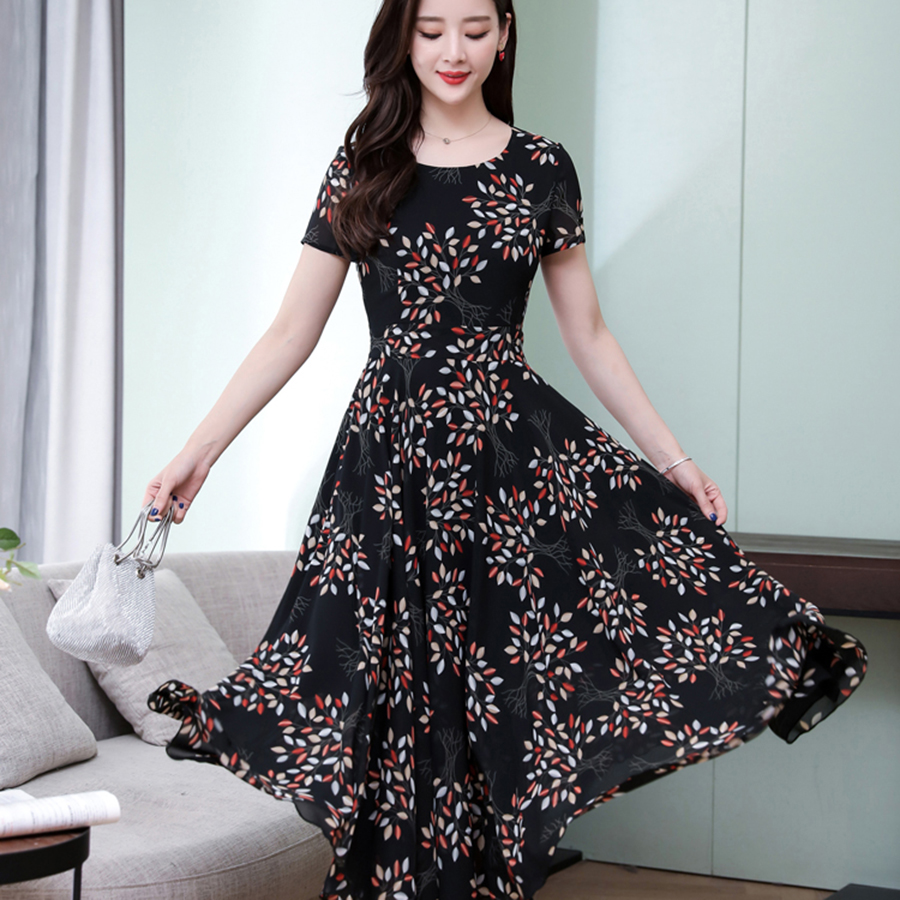 2019 Korean 4XL Plus Size Boho Dress Summer Vintage Black Floral Chiffon Beach Midi Sundress Elegant Bodycon Women Party Vestido in Dresses from Women 39 s Clothing