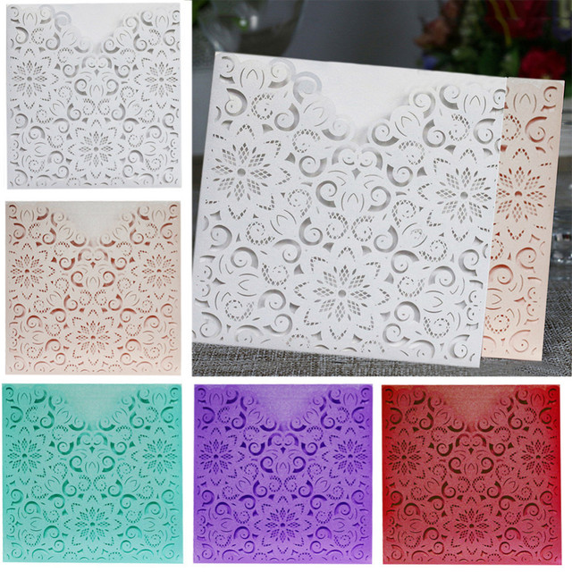 10pcs delicate european carved square wedding invitations hollow