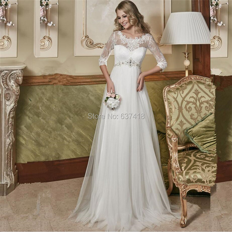 2016 empire waist maternity wedding dress for pregnant for Wedding dress for pregnant woman