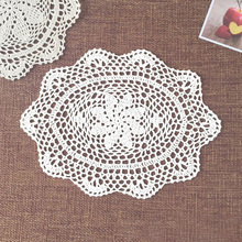 yazi 4PCS Handmade Cotton Hollow Floral Oval Placemat Doily Pads Crochet Table Mat Table Cover Tablecloths Home Decor