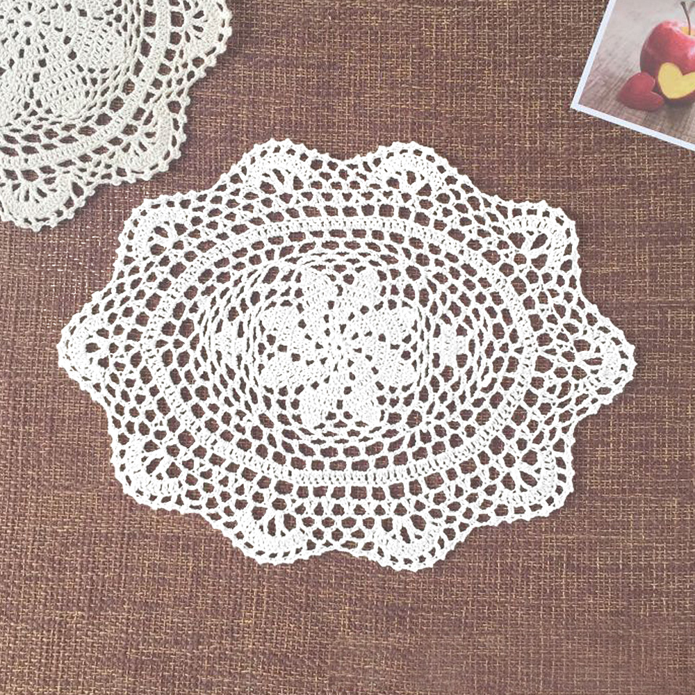 Yazi 4pcs handmade cotton hollow floral oval placemat doily pads yazi 4pcs handmade cotton hollow floral oval placemat doily pads crochet table mat table cover tablecloths home decor in mats pads from home garden on bankloansurffo Image collections