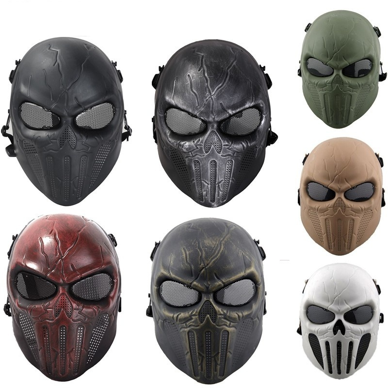 DC12 Punisher Skull Military Army Tactical Full Face Mask Outdoor CS Wargame Halloween Paintball Airsoft Ear Protective Mask