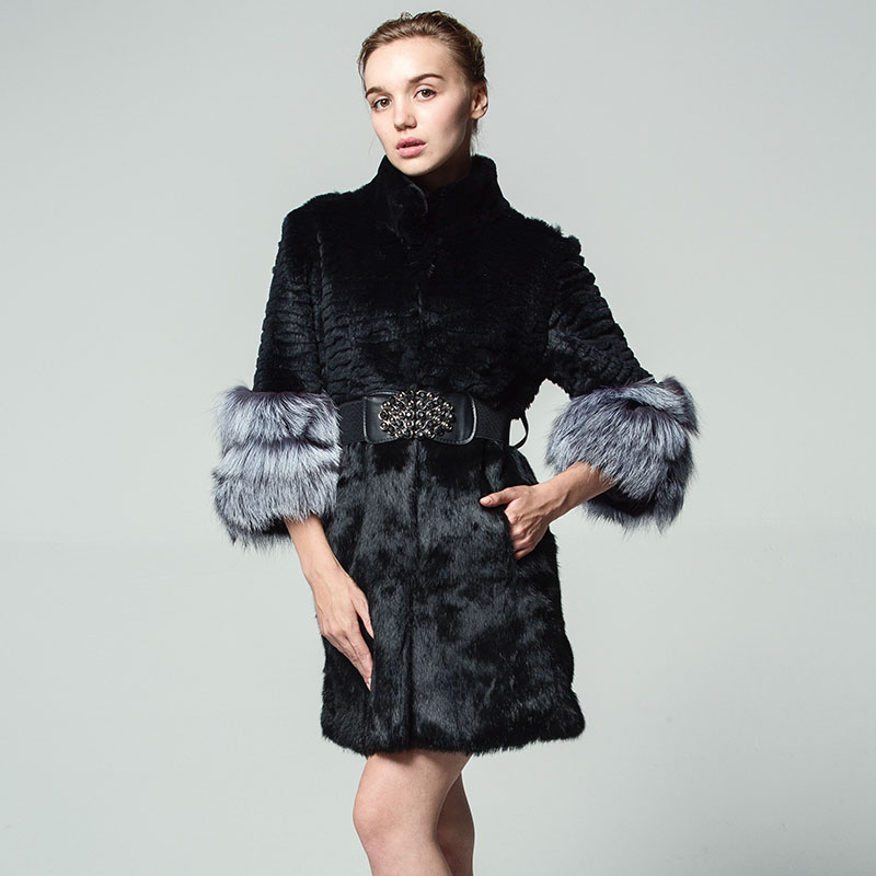 The real rabbit fur coat stripes Fashion fox cuff  With belt Pocket Fur clothes winter woman Russian 5XL seven point sleeve coat