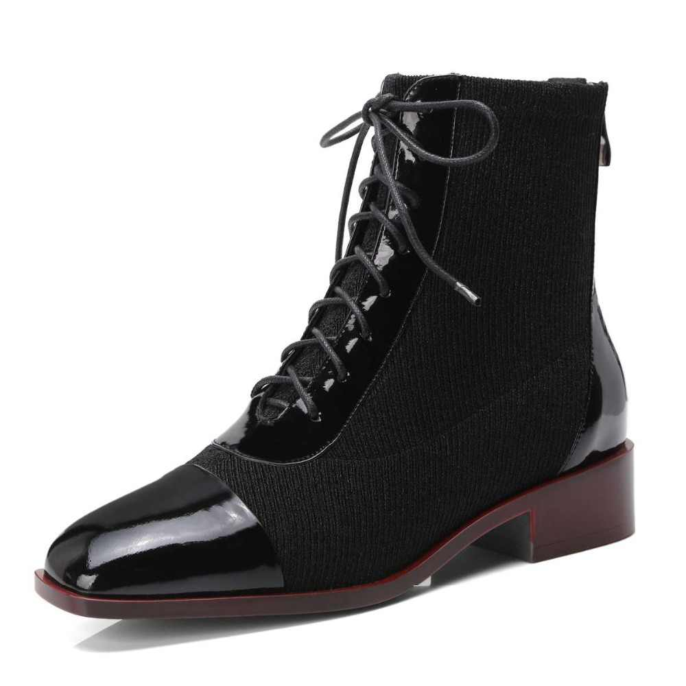 Vintage İngiliz okul düşük topuklu fermuar inek rugan örgü genç kızlar kare tro papyon yeni moda orta buzağı çizmeler L31