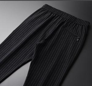 Image 3 - Pantalones para hombre de Primavera de linglu de talla grande 4xl de lana de moda teñida a rayas verticales para hombres pantalones elásticos de cintura bordada pantalones flacos