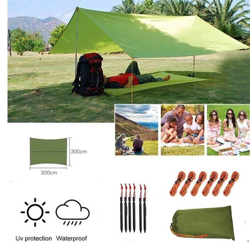 Tent Tarp Hammock Rain Sun Shade Shelter Waterproof Camping Picnic Pad Mat 3Mx3M