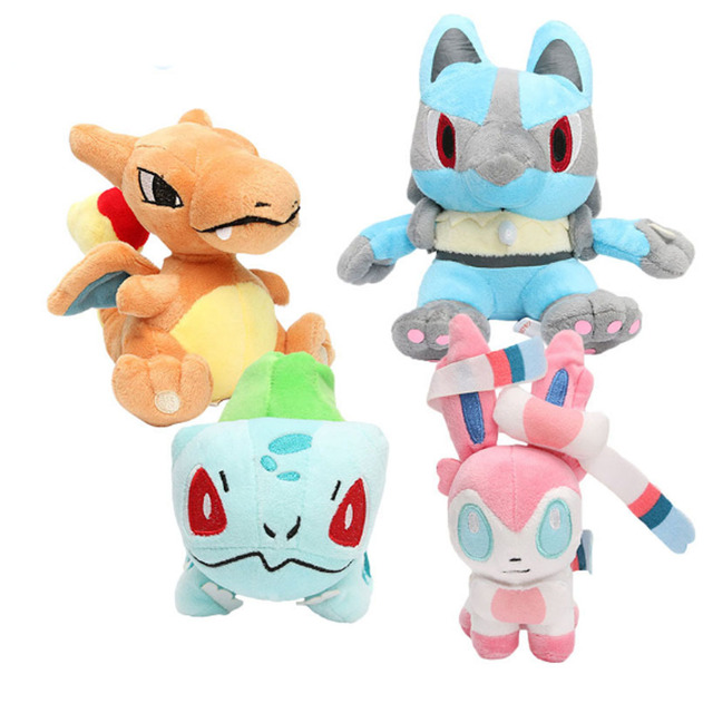 4 Pieces 12-17 cm TV Plush Toys Charizard Charmander Bulbasaur Eevee Action Figure Toy Anime Soft Doll Kids Gift Toys