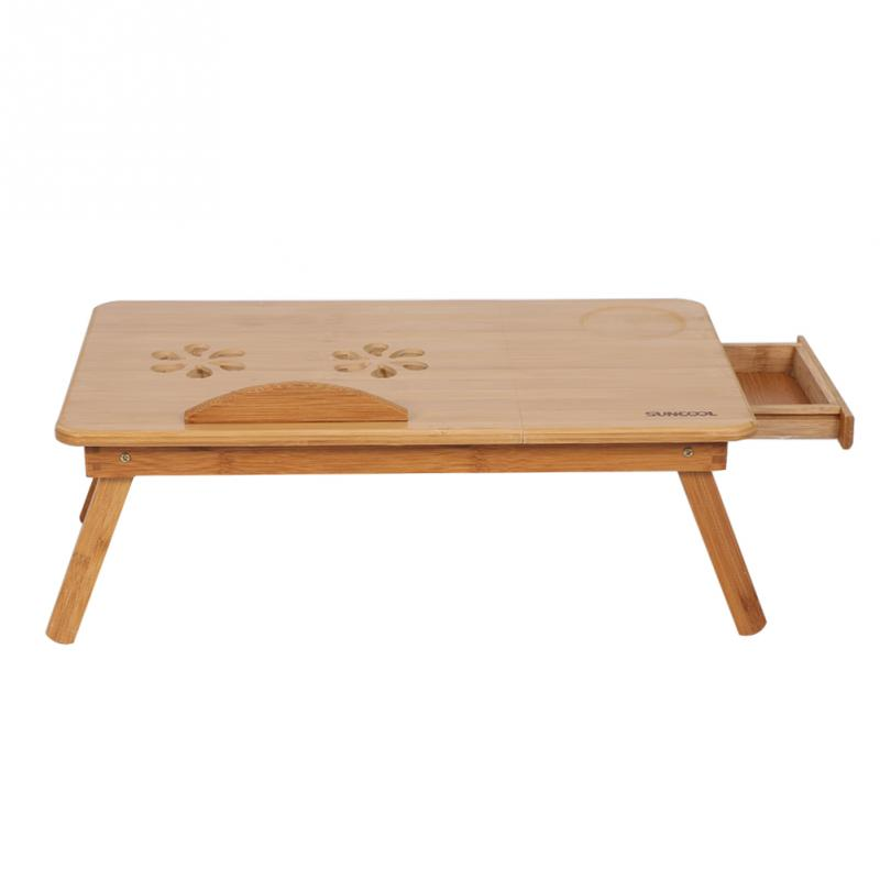 Portable Folding Lap Desk Bamboo Laptop  Tray Natural Bed Table Stand w// Drawer
