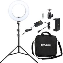 ZOMEI Camera Photo Studio Phone Video Lamp Led Photographic Ring Lighting 3200K-5500K For Making up studio Live Broadcast(China)