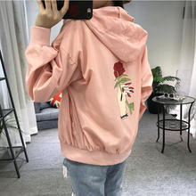 2017 Spring Summer Pink Embroidery Rose Women's  Jacket Matching Hat Female Abrigos Mujer  Harajuku Chaquetas Sunscreen Clothing