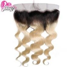 Beauty forever бразильские волнистые волосы для наращивания волос#1B/613 13x4 Remy человеческие волосы Фронтальная часть