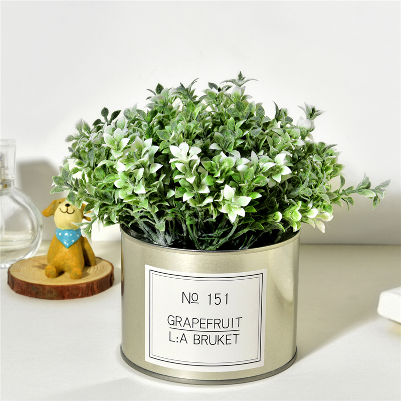 Christmas Ornament Artificial Lover Grass Flowers + Iron Vase  Fake Plants Mini Bonsai Set for Wedding Home Garden Decoration