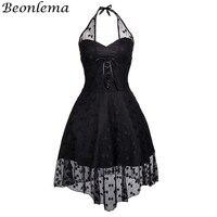 Beonlema Women Steampunk Corset Dress Gothic Black Lace Mesh Dress Backless Sexy Halter Korset Overbust corpetes e corselet