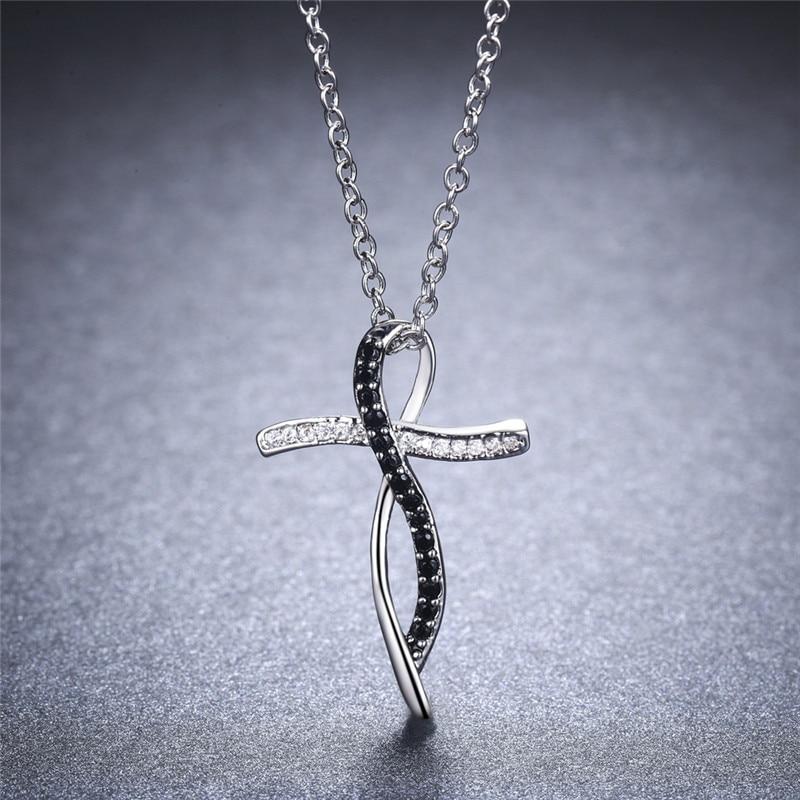 HTB1epLNbYsrBKNjSZFpq6AXhFXaN Fine Genuine 100% 925 Sterling Silver Necklace Women Jewelry Black&White Stone Necklaces Pendants P114