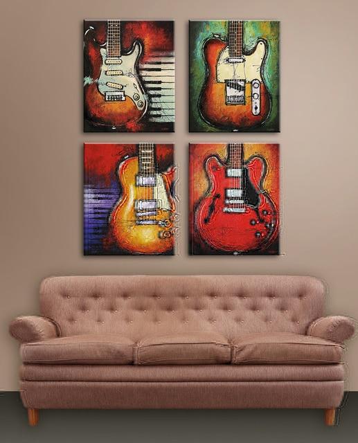 Moderne Leinwand Vintage Abstrakte Dekorative Musik Stillleben Gitarre Lgemlde Auf Fr Wohnzimmer Dekoration