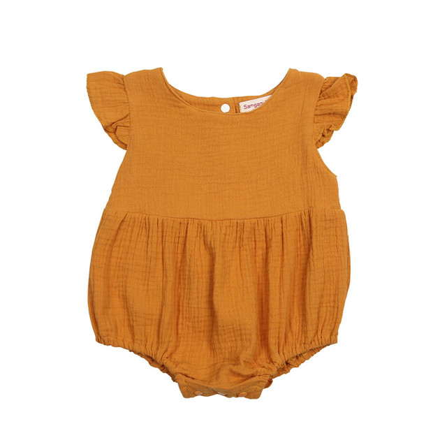 fd24209f6d6f Fashion Baby Clothing 2018 Summer Newborn Infant Baby Girl Fly-sleeve  Bodysuit Orange Jumpsuit One-Piece New Bebes Tutu Bodysuit