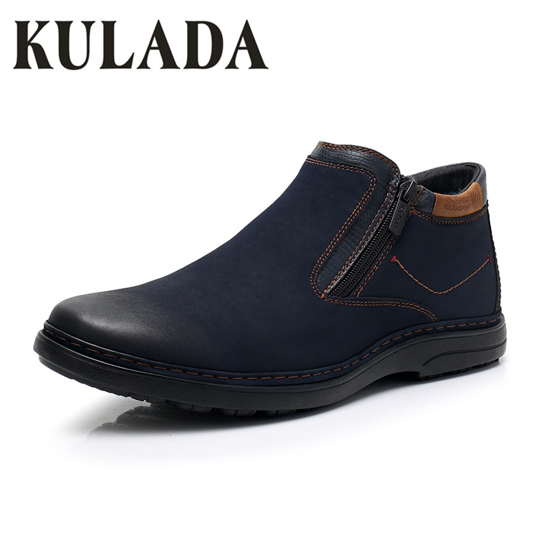 KULADA 2019 Boots Men's Warm Thick Fur Winter Shoes Cow Suede Comfortable Zipper Side Snow Boots Men Casual Boots