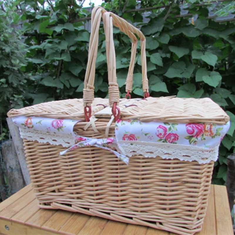 Willow Wicker Storage Basket With Liner For Home: Wicker Camping Picnic Basket With Handle Wood Color