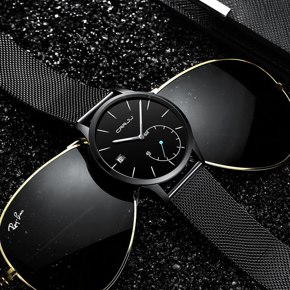 CRRJU Hommes de Montres Nouvelle marque de luxe montre homme Mode sport quartz-montre en acier inoxydable maille sangle ultra mince cadran date horloge