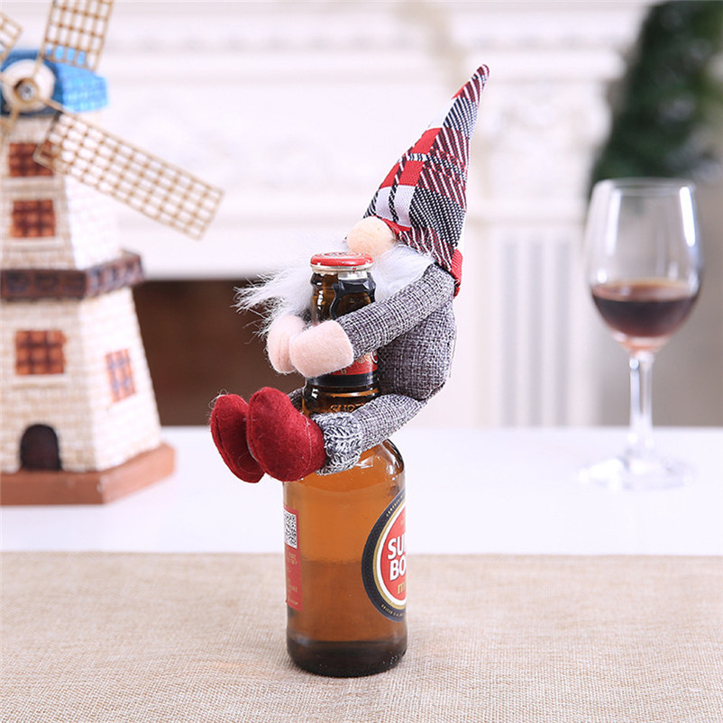 2018 Merry Christmas Wine Bottle Cover Clothes Xmas Santa Snowman Wine Bottle Decor Party christmas decorations for home O17 (2)