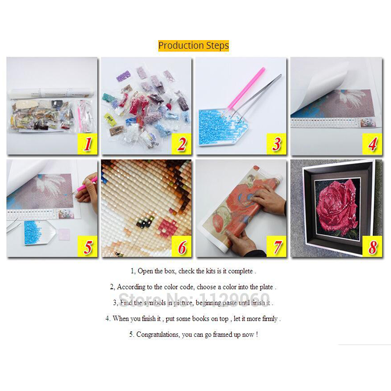 DIY 5D Diamond Painting Cross Stitch Bee Collecting Nectar Butterfly Diamond Embroidery Square Drill Diamond Mosaic Decoration in Diamond Painting Cross Stitch from Home Garden