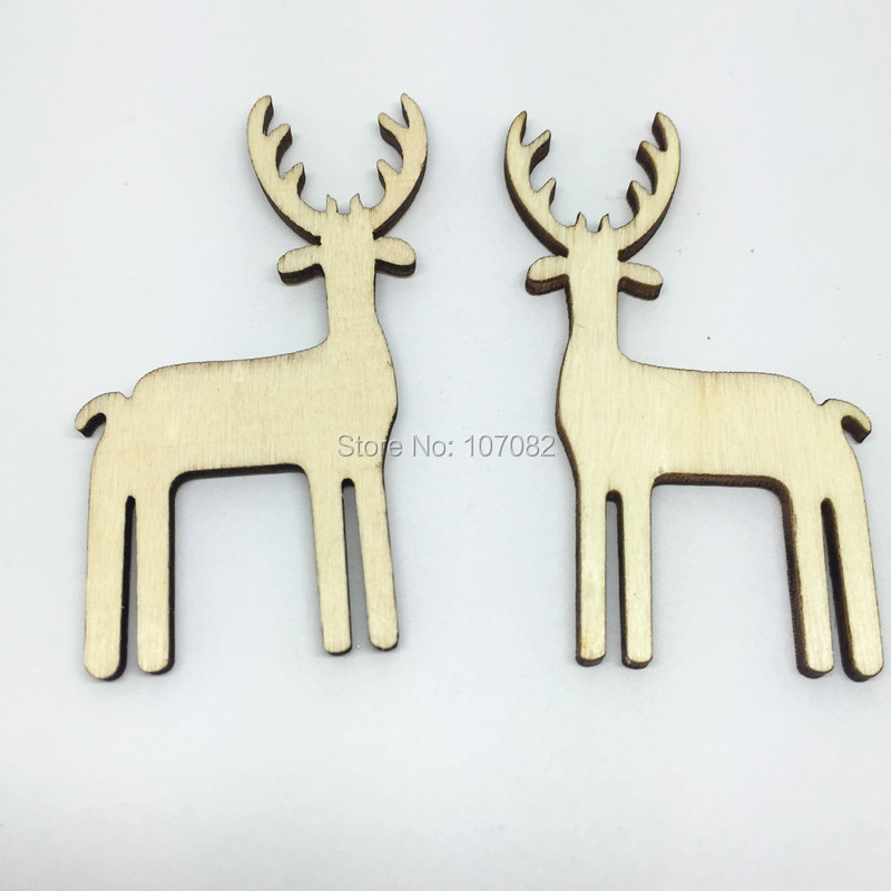 1000PCS 35*60MM Rustic Wood Deer Chips Die Cutting Shabby Chic Christmas Natural Emebellishments Cardmaking DIY Crafts