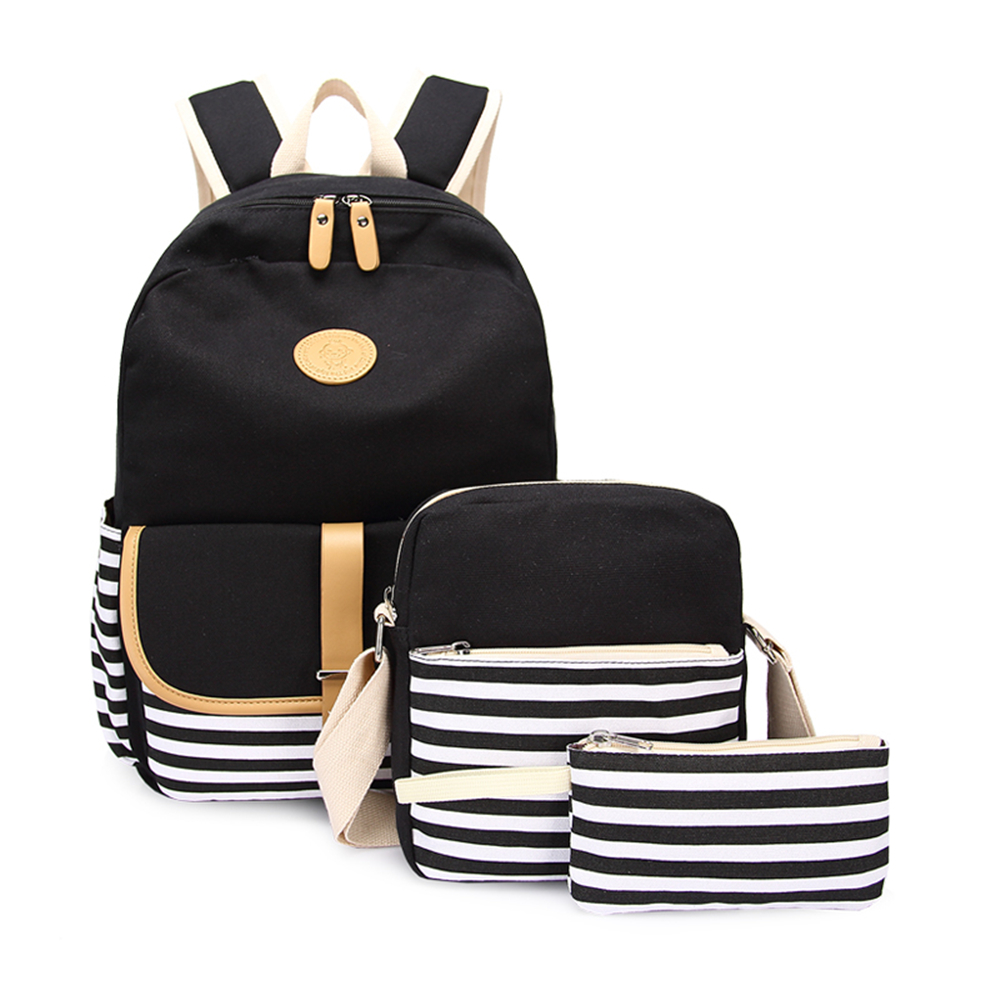 3pcs/set Canvas Fringe Women Backpack Student Book Bag with Purse Laptop Bagpack Lady School Bag for Teenager Girls chic canvas leather british europe student shopping retro school book college laptop everyday travel daily middle size backpack